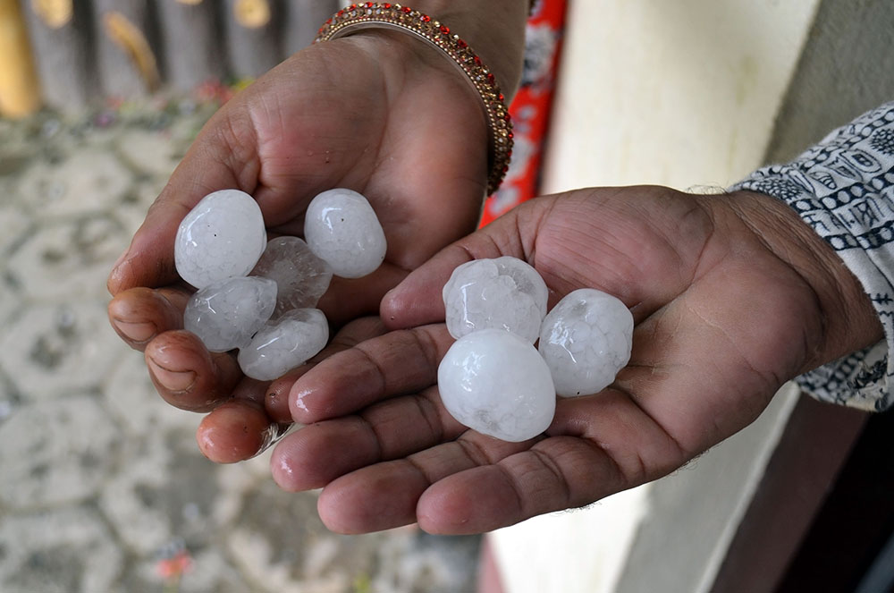 hailstones in hands